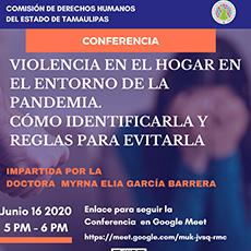 Conferencia Violencia en el hogar en el entorno de la pandemia como identificarla y reglas para evitarla