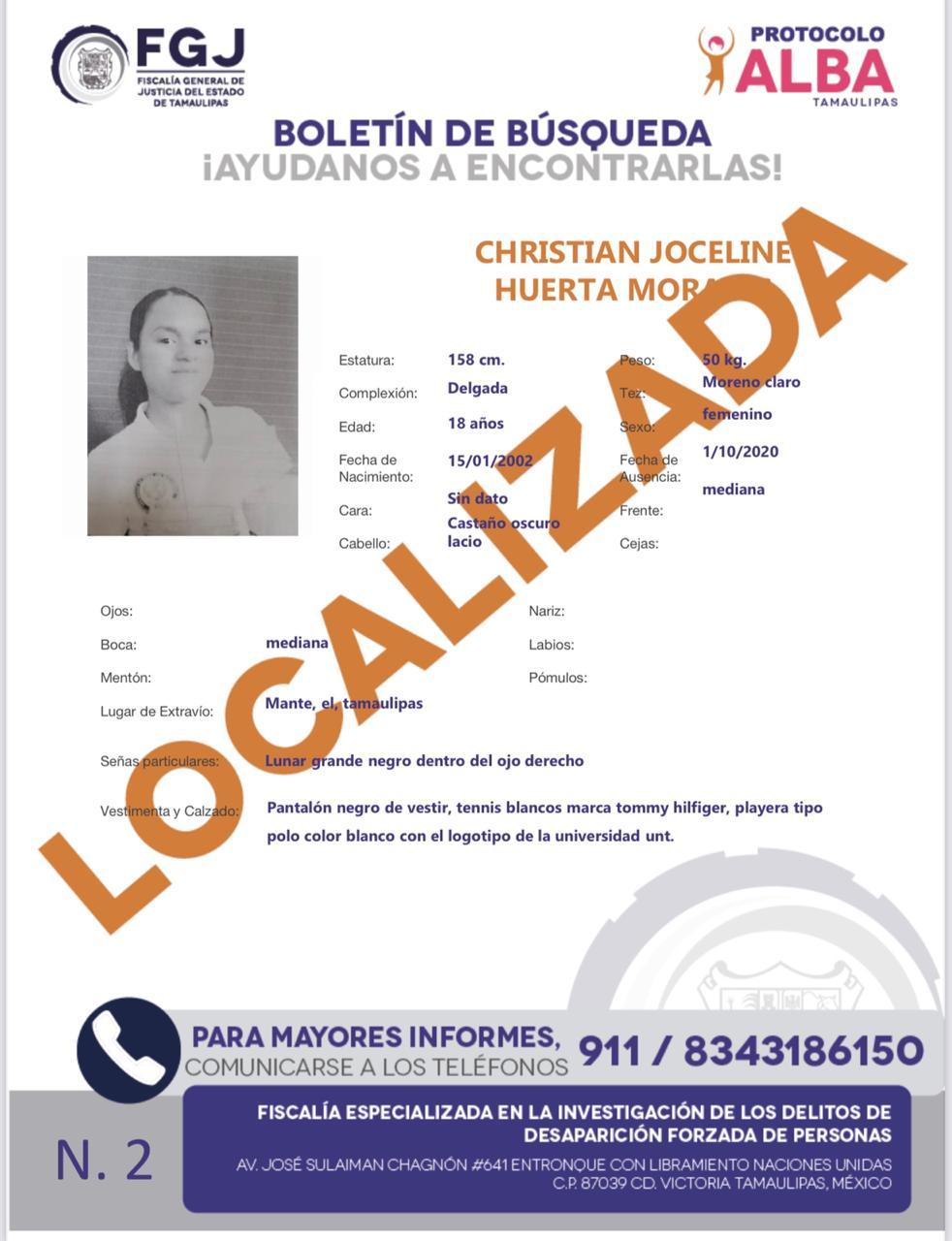 BOLETIN DE BUSQUEDAChristian-Joceline-Huerta-Morales-localizada