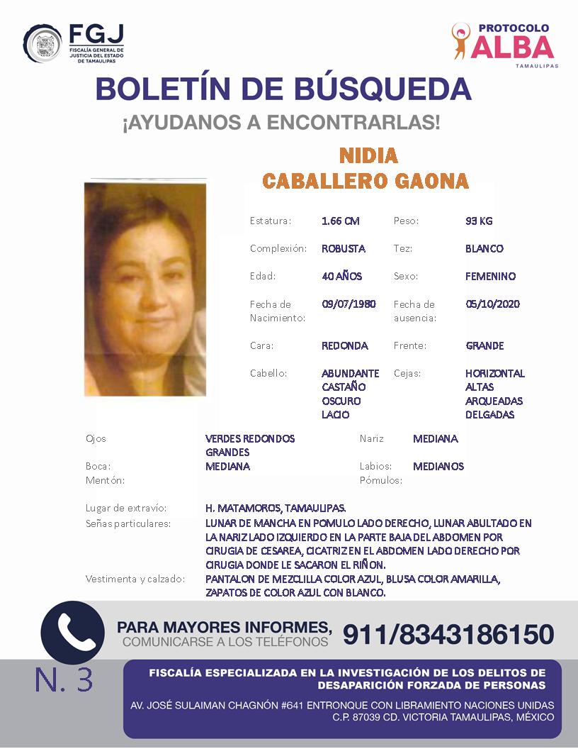 BOLETIN DE BUSQUEDANidia Caballero Gaona