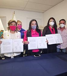 Lic. Olivia Lemus, formalizó firma de convenio con Odeth Ortiz Melhem, Fundadora de EduCáncer y Jackeline Montecinos, Presidenta de Movimiento Benito A.C.