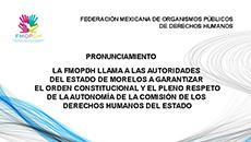 imagen Pronunciamiento FMOPDH llama a las autoridades del estado de Morelos a garantizar el orden constitucional